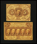 Fractional Currency:First Issue, Fr. 1230 5¢ First Issue Very Good or Better.... (Total: 2 notes)