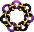 Estate Jewelry:Bracelets, Amethyst, Black Onyx, Gold Bracelet, A. Cipullo. ...