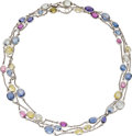Estate Jewelry:Necklaces, Multi-Color Sapphire, White Gold Necklace, Bvlgari. ...