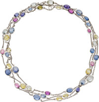Multi-Color Sapphire, White Gold Necklace, Bvlgari