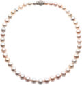 Estate Jewelry:Necklaces, Pink Freshwater Cultured Pearl, Diamond, Platinum Necklace. ...