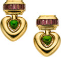 Estate Jewelry:Earrings, Pink & Green Tourmaline, Gold Earrings, Stevens. ... (Total: 2 Items)