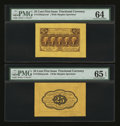 Fractional Currency:First Issue, Fr. 1282SP 25¢ First Issue Wide Margin Pair PMG Gem Uncirculated 65 EPQ and Choice Uncirculated 64... (Total: 2 notes)
