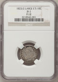 Bust Dimes: , 1823/2 10C Large Es Fine 12 NGC. JR-2. PCGS Population (1/32).(#4499). From The Donald R. Frederic...