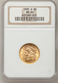 Liberty Half Eagles: , 1885-S $5 MS60 NGC. NGC Census: (79/3136). PCGS Population (106/1991). Mintage: 1,211,500. Numismedia Wsl. Price for proble...