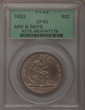 Seated Half Dollars: , 1853 50C Arrows and Rays XF45 PCGS. PCGS Population (121/605). NGCCensus: (90/640). Mintage: 3,532,708. Numismedia Wsl. Pr...