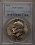 Eisenhower Dollars: , 1978 $1 MS66 PCGS. PCGS Population (296/5). NGC Census: (120/5). Mintage: 25,702,000. Numismedia Wsl. Price for problem fre...