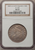 Bust Half Dollars: , 1820 50C Square Base Knob 2, Large Date AU53 NGC. O-106. NGCCensus: (0/0). PCGS Population (3/39). (#6122)...