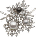 Estate Jewelry:Brooches - Pins, Diamond, South Sea Cultured Pearl, Cultured Pearl, Platinum Clip-Brooch, Jewells by Tobias. ...
