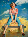 Pin-up and Glamour Art, ELLEN BARBARA SEGNER (American, d. 2001). Hayride. Oil oncanvas. 45 x 34 in.. Signed lower left. ...