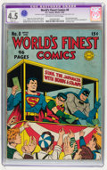 Golden Age (1938-1955):Superhero, World's Finest Comics #8 (DC, 1942) CGC Apparent VG+ 4.5 Slight (A) Off-white to white pages....