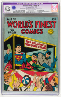 World's Finest Comics #8 (DC, 1942) CGC Apparent VG+ 4.5 Slight (A) Off-white to white pages