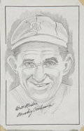 "Baseball Collectibles:Others, Mickey Cochrane Signed Original Artwork ""Raitt Collection""...."