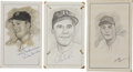 "Baseball Collectibles:Others, Brooklyn Dodgers Hall of Famers Signed Original Artwork Lot of 3""Raitt Collection""...."