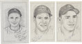 """Baseball Collectibles:Others, New York Yankees Hall of Famers Signed Original Artwork Lot of 3From """"Raitt Collection""""...."""