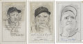 "Baseball Collectibles:Others, Baseball Stars Signed Original Artwork Lot of 3 from ""RaittCollection""...."
