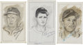 "Baseball Collectibles:Others, Baseball Hall of Famers Signed Original Artwork Lot of 3 from the""Raitt Collection""...."