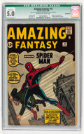 Silver Age (1956-1969):Superhero, Amazing Fantasy #15 (Marvel, 1962) CGC Qualified VG/FN 5.0 Cream tooff-white pages....