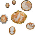 Estate Jewelry:Lots, Shell Cameo, Gold, Silver Jewelry Lot. ... (Total: 8 Items)