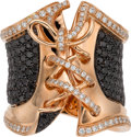 Estate Jewelry:Rings, Black & White Diamond, Pink Gold Ring. ...