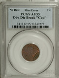 "Errors, Undated Zinc Alloy Lincoln Memorial Cent--Obverse Die Break""Cud""--AU55 PCGS...."