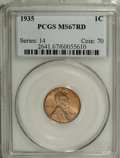 Lincoln Cents: , 1935 1C MS67 Red PCGS. PCGS Population (388/5). NGC Census:(401/0). Mintage: 245,388,000. Numismedia Wsl. Price for NGC/PC...