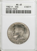 Kennedy Half Dollars: , 1982-P 50C MS65 ANACS. Breen-5323. MS65. NGC Census: (55/38). PCGSPopulation (120/109). Mintage: 10,819,000. Numismedia Ws...