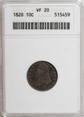 Bust Dimes: , 1820 10C Large 0 VF20 ANACS. NGC Census: (2/198). PCGS Population(2/137). Mintage: 942,587. Numismedia Wsl. Price for NGC...