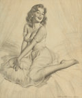 Pin-up and Glamour Art, HARRY EKMAN (American, 1923-1999). Pin-Up Drawing. Graphiteon vellum. 18.5 x 15.5 in.. Signed lower right. ...