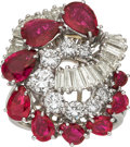 Estate Jewelry:Rings, Diamond, Ruby, Platinum Clip-Brooch-Ring. ...