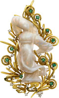 Estate Jewelry:Brooches - Pins, Opal, Diamond, Emerald, Gold Pendant-Brooch. ...