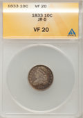 Bust Dimes: , 1833 10C VF20 ANACS. JR-5. NGC Census: (2/251). PCGS Population(5/275). Mintage: 485,000. Numismedia Wsl. Price for probl...