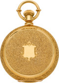 Timepieces:Pocket (pre 1900) , Waltham Rare 20K Gold Model 72 Hunters Case With American EagleEngraving, circa 1877. ...
