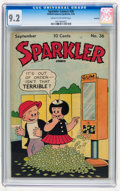 Golden Age (1938-1955):Miscellaneous, Sparkler Comics #36 Rockford pedigree (United Features Syndicate, 1944) CGC NM- 9.2 Cream to off-white pages....
