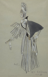 CECIL WALTER HARDY BEATON (British, 1904-1980) Lady Windermere's Fan, theater costume design for Mrs. Erlynne</...