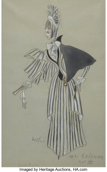 CECIL WALTER HARDY BEATON (British, 1904-1980)Lady Windermere's Fan, theater costume design for Mrs. Erlynne, circa 19...
