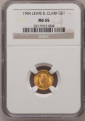 Commemorative Gold: , 1904 G$1 Lewis and Clark MS65 NGC. NGC Census: (176/139). PCGSPopulation (278/137). Mintage: 10,025. Numismedia Wsl. Price...