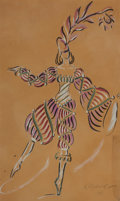Fine Art - Work on Paper:Drawing, ANDREI HOUDIAKOFF (Russian , 1895-1985). Dancing Figure, 1923. Gouache on paper. 17 x 10 inches (43.2 x 25.4 cm). Signed...