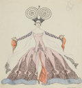 Fine Art - Work on Paper:Watercolor, GEORGES BARBIER (French, 1882-1932). Two-sided CostumeDrawing. Watercolor, ink and graphite on paper. 10 x 9-1/2inches...