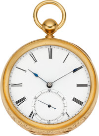 Nashua Watch Co. Rare and Important Gold American Pocket Watch, No. 1230, circa 1860