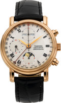 Timepieces:Wristwatch, Tourneau Rose Gold Chronometer Chronograph Triple Calendar Moonphase By Waldan, circa 2004. ...