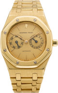 Timepieces:Wristwatch, Audemars Piguet Gold Royal Oak Gent's Automatic With Day & Date, circa 1990. ...
