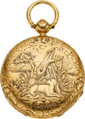 Timepieces:Pocket (pre 1900) , J. H. Droz Ginnel Gold Key Wind Lever, circa 1860. ...