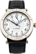Timepieces:Wristwatch, L. Leroy Very Fine White Gold Center Seconds Wristwatch With 48 Hour Power Reserve Indicator. ...