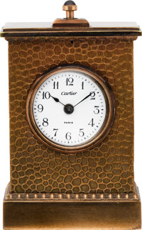 Cartier Small Bronze Cased Minute Repeating Clock, circa 1865