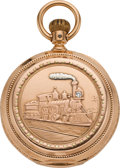 Timepieces:Pocket (pre 1900) , Hamilton Rare 11 Jewel, 18 Size Multicolor Gold Hunters Case PocketWatch, circa 1896. ...