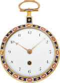 Timepieces:Pocket (pre 1900) , Allam & Clements Gold & Enamel Verge Fusee, circa 1790. ...