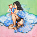 Pin-up and Glamour Art, OLIVIA (OLIVIA DE BERARDINIS) (American, b. 1948). Bettie Pagepin-up illustration. Mixed media on paper. 20 x 20 in.. S...