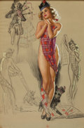 Pin-up and Glamour Art, KNUTE O. MUNSON (American, 20th Century). Tartan Plaid Pin-Up,Artist's Sketch Pad, calendar illustration, November 194...