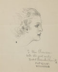 Mainstream Illustration, HOWARD CHANDLER CHRISTY (American, 1872-1952). PortraitStudy, 1938. Graphite on paper. 9.5 x 8 in.. Signed andinscribe...